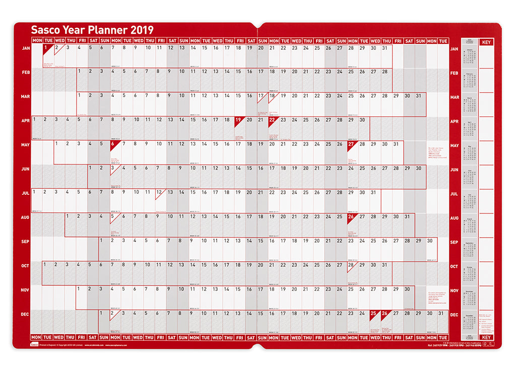 sasco 2019 board mounted year planner with wet wipe pen sticker pack 915 x