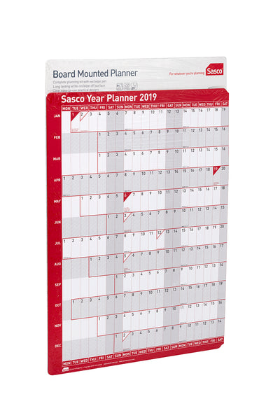 Sasco 2019 Board Mounted Year Planner with wet wipe pen & sticker pack | 915 x 610mm