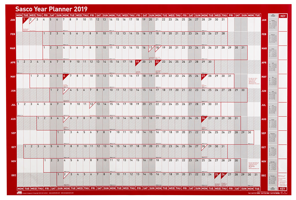 Sasco 2019 Poster Style Year Planner with wet wipe pen & sticker pack | 915 x 610mm