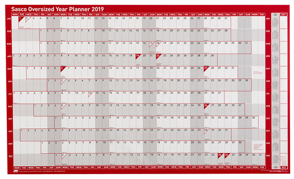 Sasco 2019 Oversized Poster Style Year Planner with wet wipe pen & sticker pack | 1100 x 610mm