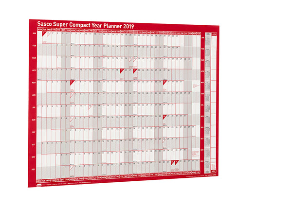Sasco 2019 Unmounted Super Compact Year Wall Planner with wet wipe pen & sticker pack | 400 x 285mm