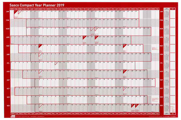 Sasco 2019 Compact Landscape Poster Style Year Planner with wet wipe pen & sticker pack | 610 x 405mm