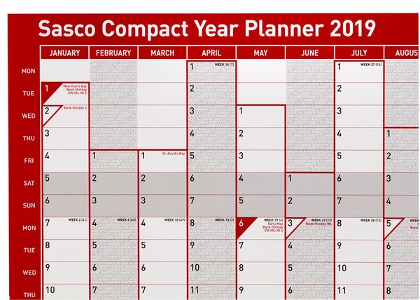 Sasco 2019 Compact Portrait Poster Style Year Planner with wet wipe pen & sticker pack | 405 x 610mm