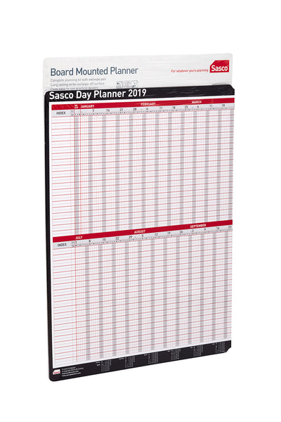 Sasco 2019 Board Mounted Day Planner with wet wipe pen & sticker pack | 915 x 610mm