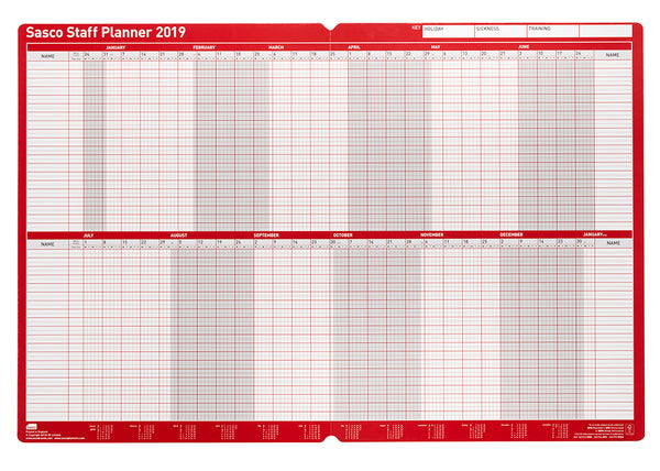 Sasco 2019 Board Mounted Staff Planner with wet wipe Pen & sticker pack | 915 x 610mm