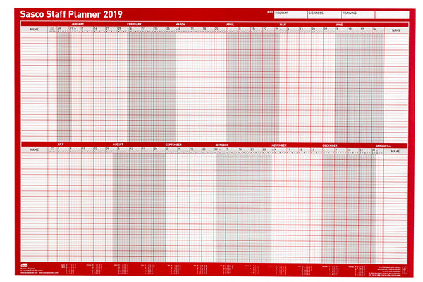 Sasco 2019 Poster Style Staff Planner with wet wipe Pen & sticker pack | 915 x 610mm