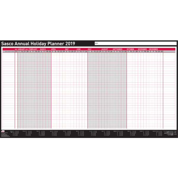 Sasco 2019 Unmounted Annual Holiday Wall Planner with wet wipe pen & sticker pack | 750 x 410mm
