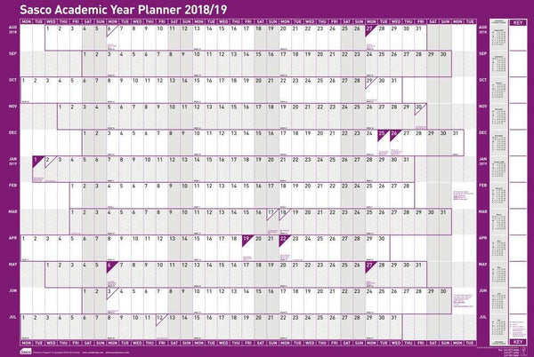 Sasco 2019/2020 Mounted Academic Year Wall Planner with wet wipe pen & sticker pack | 915 x 610mm