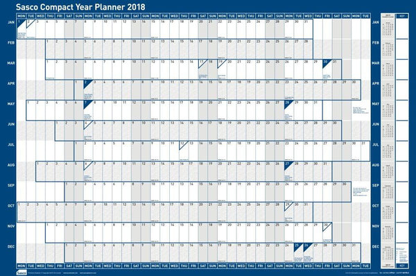 Sasco 2018 Unmounted Compact Year Wall Planner 610x405mm
