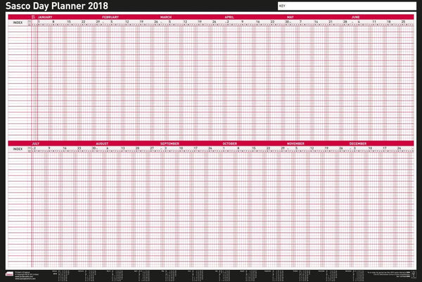 Sasco 2018 Mounted Day Wall Planner 915x610mm