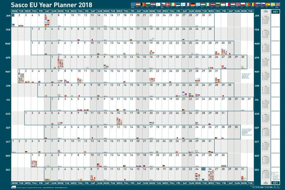 Sasco 2018 Unmounted EU Year Wall Planner 915x610mm