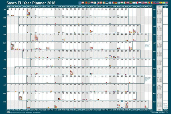 Sasco 2019 Unmounted EU Year Wall Planner with wet wipe pen & sticker pack | 915 x 610mm