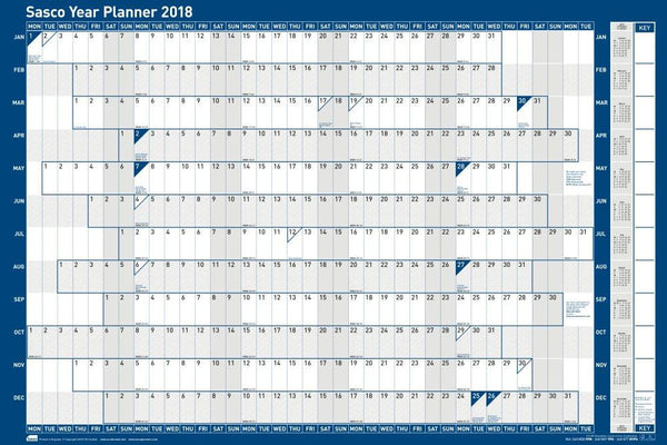 Sasco 2018 Mounted Year Wall Planner 915x610mm