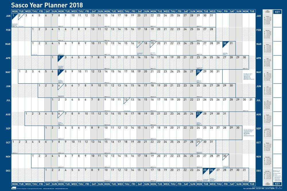 Sasco 2018 Unmounted Year Wall Planner 915x610mm