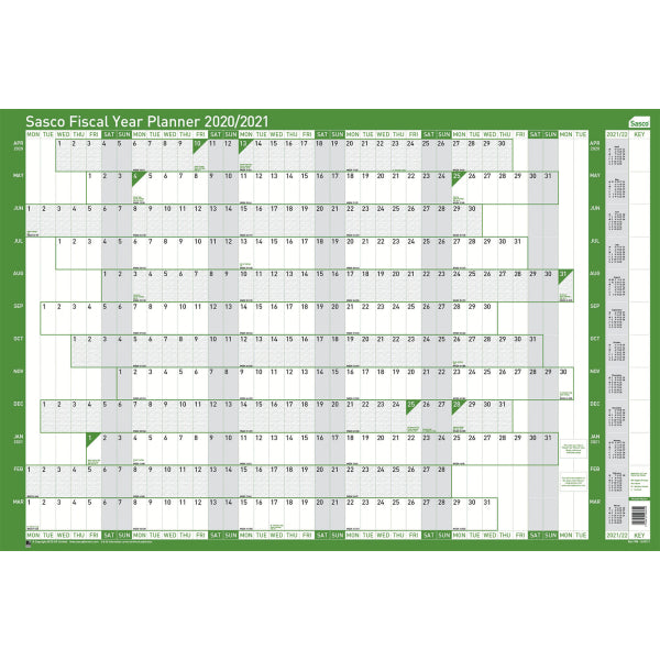 Sasco 2020/2021 Mounted Fiscal Year Wall Planner with wet wipe pen & sticker pack | 915 x 610mm | 2410111D