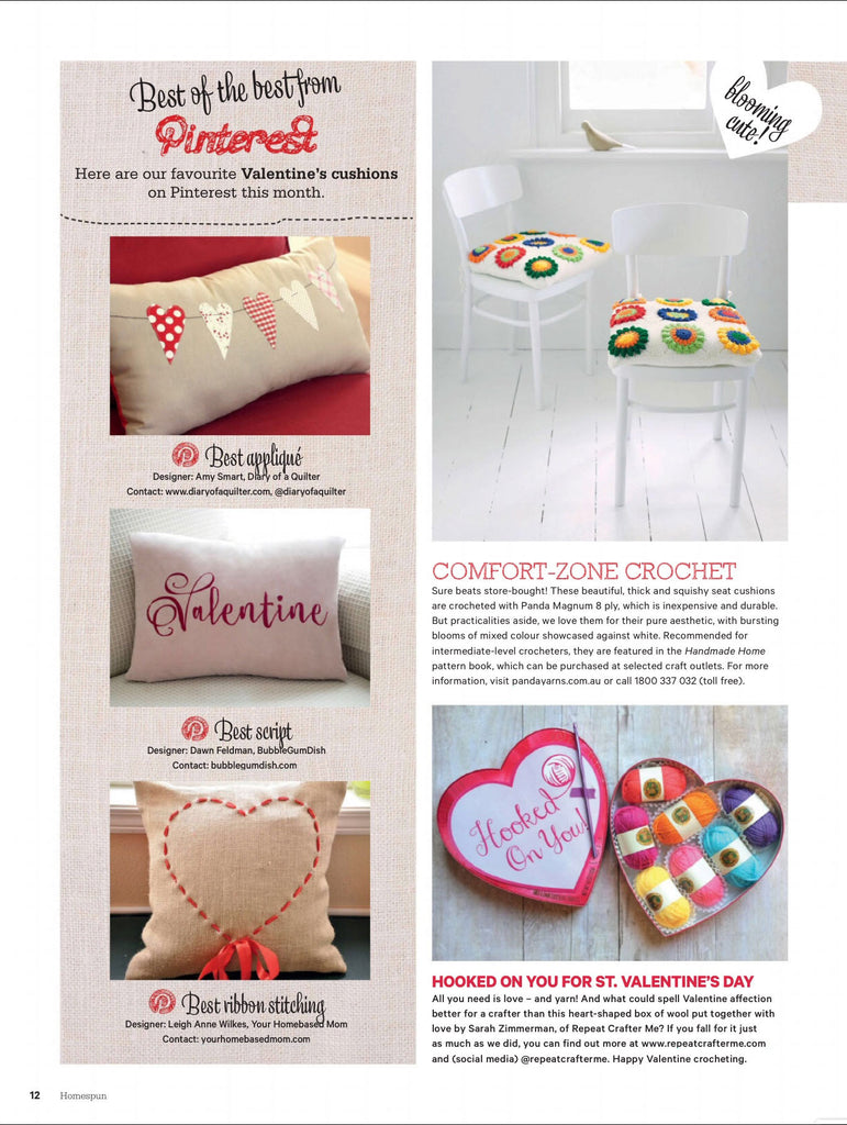 Valentine Pillow in Homespun Magazine