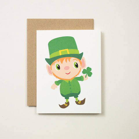 St. Patrick's Day Leprechaun Greeting Card by BubbleGumDish.com