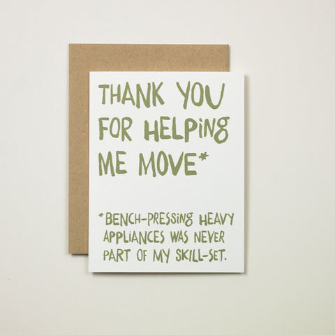 Thank You for Helping Me Move Greeting Card
