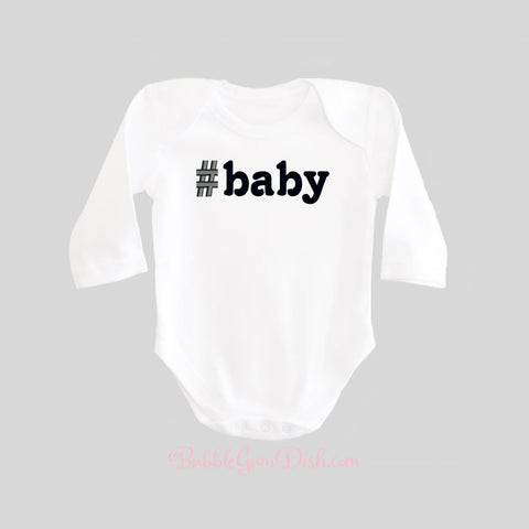 Hashtag Baby Bodysuit Long Sleeves BubbleGumDish