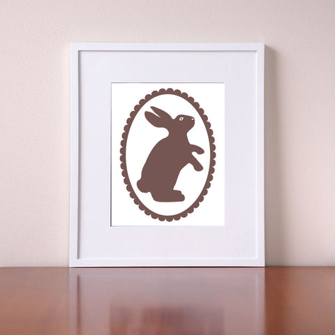 Chocolate Brown Bunny Illustration - Nursery Decor - Giclee Print
