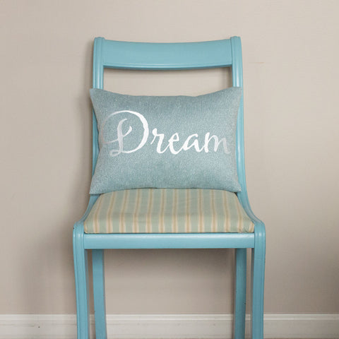 Dream Embroidered Blue Pillow by BubbleGumDish