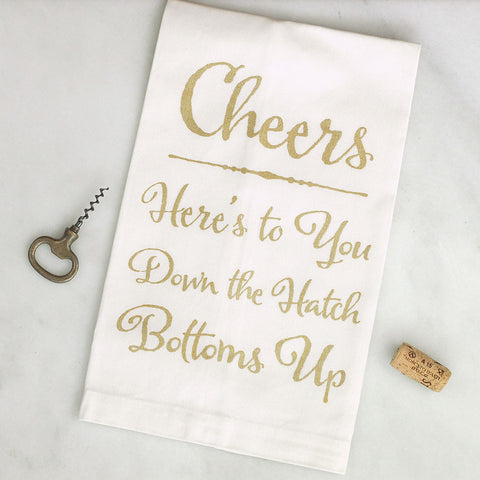 Cheers Tea Towel Screenprinted by BubbleGumDish Gold