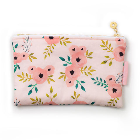 Pink Flower Zipper Pouch