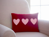 Red Hearts Trio Valentine Pillow