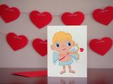 Valentine's Day Cupid Greeting Card by BubbleGumDish.com