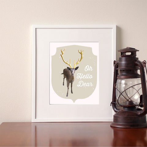 Oh Hello Dear Deer Prints Giclee Print Wall Art