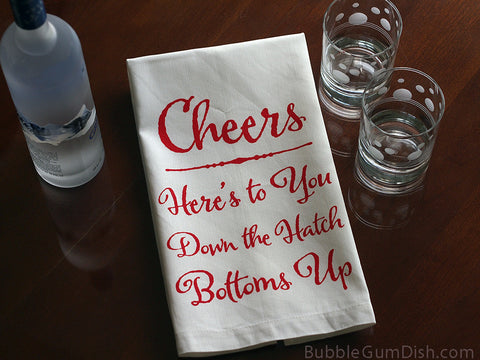 Cheers Linen Tea Towel - Red