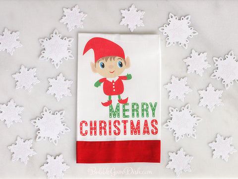 Merry Christmas Elf Tea Towel