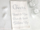 Cheers Linen Tea Towel - Silver