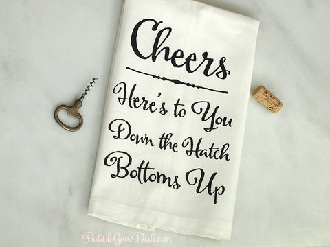 Cheers Linen Tea Towel - Black