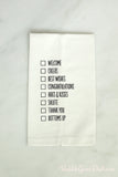 Hostess Gift Checklist Tea Towel