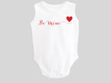 Be Mine Valentine's Day Baby Bodysuit with Calligraphy Wording and Red Heart