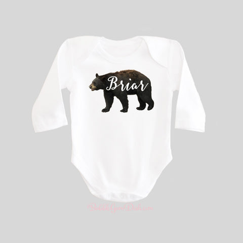 Bear with Personalized Name Shirt Long Sleeve