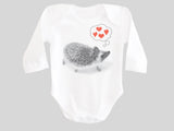 Hedgehog Valentine's Day Baby Bodysuit Long Sleeved from BubbleGumDish