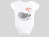 Hedgehog Valentine's Day Baby Bodysuit Short Sleeved from BubbleGumDish