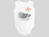 Hedgehog Valentine's Day Baby Bodysuit Sleeveless Tank from BubbleGumDish