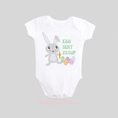 Easter Bunny Rabbit Egg Hunt Champ Baby Bodysuit by BubbleGumDish