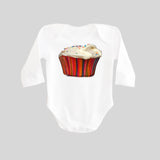 Cupcake with Sprinkles Long Sleeved Baby Bodysuit by BubbleGumDish