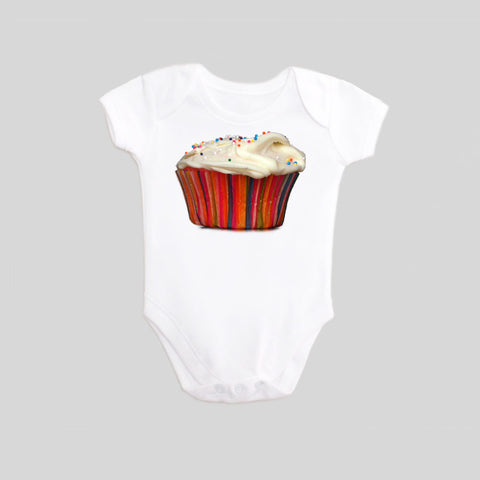 Cupcake with Sprinkles Short Sleeved Baby Bodysuit by BubbleGumDish