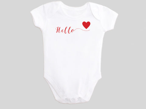 Hello Love Valentine's Day Baby Bodysuit with Calligraphy Wording and Red Heart