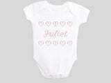 Personalized Name Juliet Girl's Valentine's Day Baby Bodysuit Printed with Faux CrossStitch Hearts
