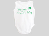 Kiss Me It's My Birthday St. Patrick's Day Baby Bodysuit