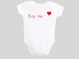 Kiss Me Valentine's Day Baby Bodysuit with Calligraphy Wording and Red Heart