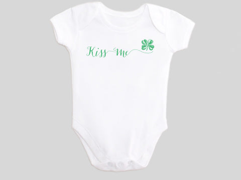 Kiss Me St. Patrick's Day Baby Bodysuit with Calligraphy Wording and Irish Shamrock Clover