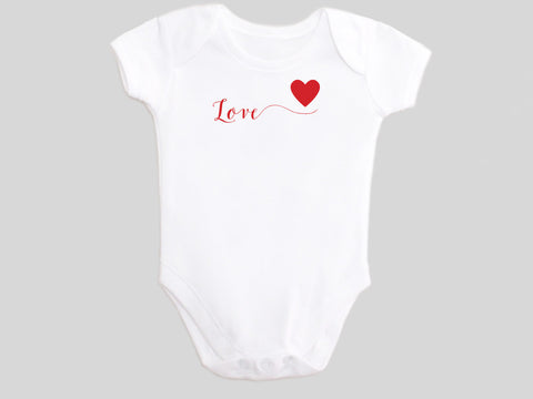 Love Valentine's Day Baby Bodysuit with Calligraphy Wording and Red Heart