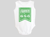Lucky St. Patrick's Day Baby Bodysuit with Irish Shamrock Clovers on a Green Banner